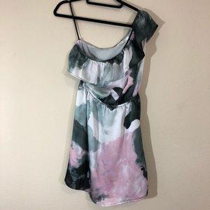 MINKPINK grey smoky watercolor one shoulder dress